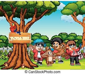 bonito, crianças, macaco, natureza, tocando, feliz