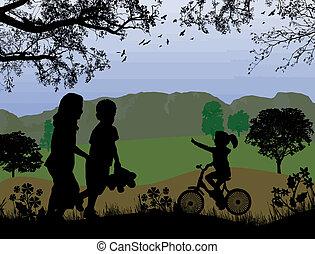 bonito, crianças, paisagem, tocando