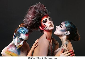 bonito, criativo, cosméticos, mulheres