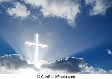 bonito, cristão, ensolarado, sobre, céu, crucifixos