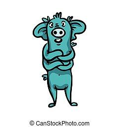 bonito, cute, blue., grande, monstros, alegre, caricatura, calcanhar, orelhas