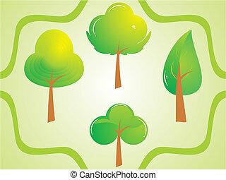 bonito, cute, jogo, abstratos, árvore, ilustração, vetorial, verde