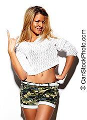 bonito, cute, look.glamor, moda, coloridos, verão, jovem, alto, pano, mulher, hipster, loura, elegante, modelo