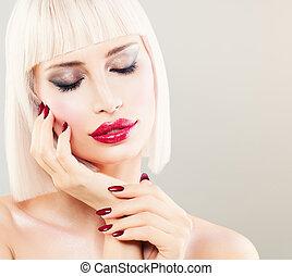bonito, cute, menina mulher, penteado, maquilagem, moda, model., manicure, bob, loiro