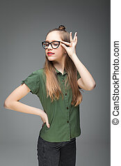 bonito, cute, menina, spectacled, jovem