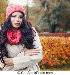 bonito, cute, mulher, ao ar livre, parque, outono, portrait., outono, menina