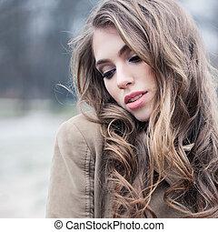 bonito, cute, mulher, parque, jovem, rosto, femininas, ao ar livre, closeup.