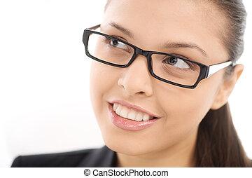 bonito, cute, olhos, mulher, afastado, branca, óculos, olhando jovem, experiência., menina bonita, sorrindo