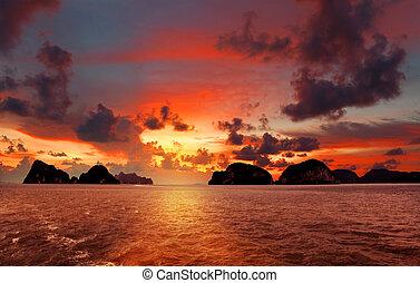 bonito, declínio, ligado, a, mar, tailandia