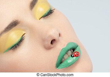 bonito, deco, batom, mulher, verde, retrato, closeup