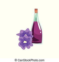 bonito, decorativo, óleo, centro, líquido, promo, cartaz, massage., aromático, elemento, vidro, flowers., vetorial, garrafa, spa, orquídea