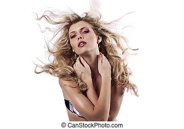bonito, dela, jogar, cabelo longo, loiro