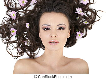 bonito, dela, maquilagem, isolado, cabelo, luminoso, menina bonita, flores, branca, mentindo