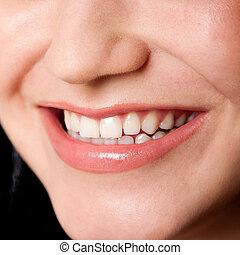 bonito, dentes, em, um, perfeitos, sorrizo
