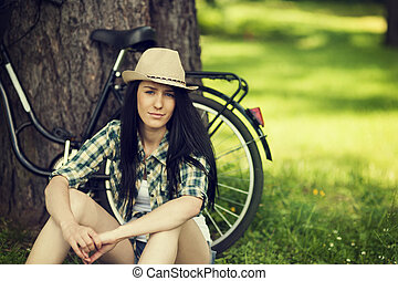 bonito, descansar, mulher, parque, jovem