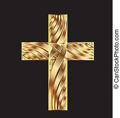 bonito, desenho, crucifixos, ouro