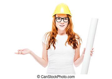 bonito, desenhos técnicos, mulher, vermelho-haired, difícil, jovem, amarela, contra, fundo, chapéu branco