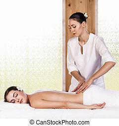bonito, desfrutando, morena, massagem