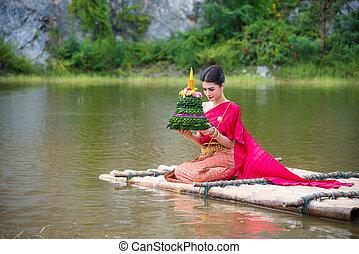 bonito, desgastar, loy, festival, orando, tradicional, krathong, jangada, tailandês, rio, vestido, menina, vermelho