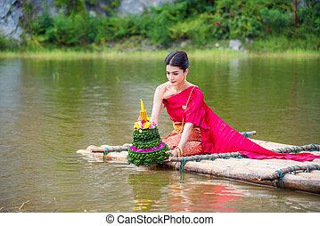bonito, desgastar, loy, festival, tradicional, krathong, jangada, tailandês, rio, vestido, menina, vermelho