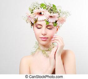 bonito, desgastar, menina, grinalda, flores