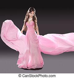 bonito, desgastar, morena, fundo, isolado, escuro côr-de-rosa, soprando, menina, vestido