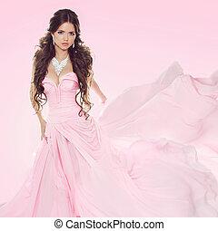 bonito, desgastar, morena, isolado, fundo cor-de-rosa, casório, menina, vestido