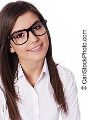 bonito, desgastar, mulher, óculos, retrato