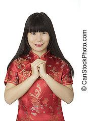 bonito, desgastar, mulher, chinês, chipao, isolado, fundo, branca