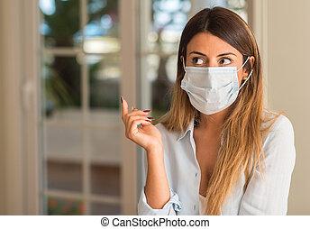 bonito, desgastar, mulher, concept., máscara, jovem, doença, contaminação, home., poluição
