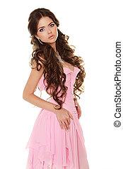 bonito, desgastar, mulher, isolado, cor-de-rosa, morena, fundo, vestido branco