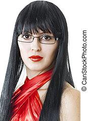bonito, desgastar, mulher, jovem, glasses.