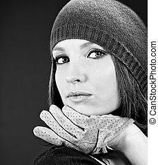 bonito, desgastar, mulher, jovem, outono, cap., style.