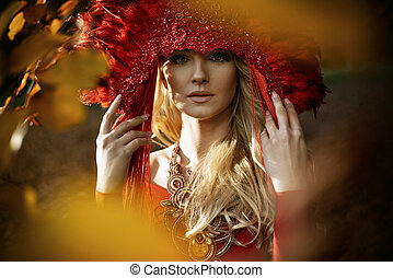 bonito, desgastar, mulher, loura, diadema, vermelho