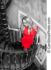 bonito, desgastar, mulher, moda, loura, vestido, vermelho