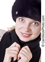 bonito, desgastar, mulher, pele, bonito, chapéu