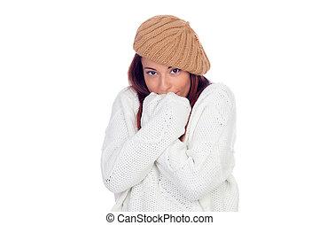 bonito, desgastar, mulher, woolen, boné, gelado, sentimento