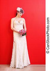 bonito, desgastar, noiva, buquet, segura, longo, rosas, fundo, vestido branco, vermelho