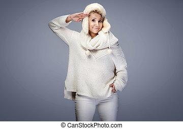 bonito, desgastar, sweater., boné, loiro, senhora