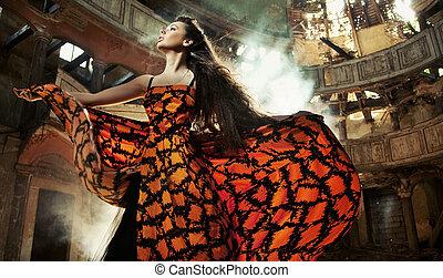 bonito, deslumbrante, vestido, mulher