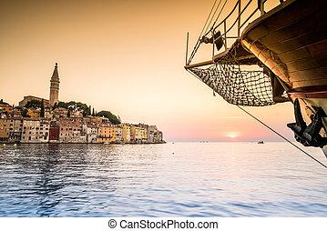 bonito, destino,  Rovinj, Croácia, verão