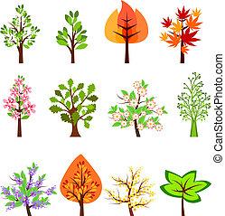 bonito, diferente, jogo, isolado, árvores, branca