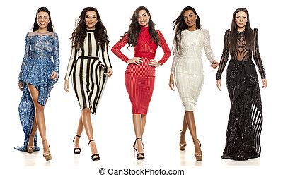 bonito, diferente, mulher, colagem, jovem, vestidos