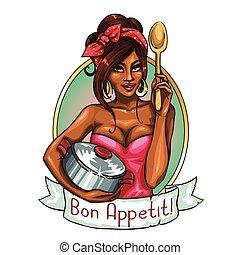 bonito, dona de casa, com, pote, e, spoon.