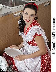 bonito, dona de casa, cozinha