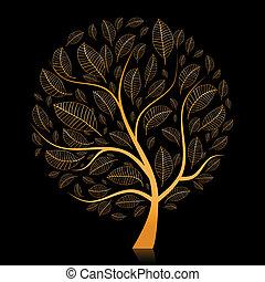 bonito, dourado, desenho, árvore, seu
