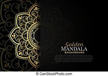 bonito, dourado, espaço, texto, fundo, mandala