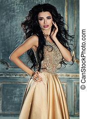 bonito, dourado, morena, dress., mulher, modelo, glorioso