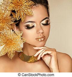 bonito, dourado, mulher, arte, beleza, foto, face., modelo, flowers., makeup., skin., moda, make-up., perfeitos, olho, profissional, menina