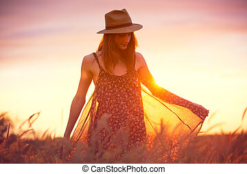 bonito, dourado, mulher, campo sol